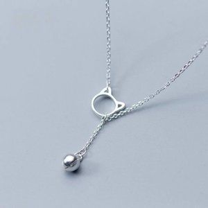 *NEW 925 Sterling Silver Cat Bell Necklace